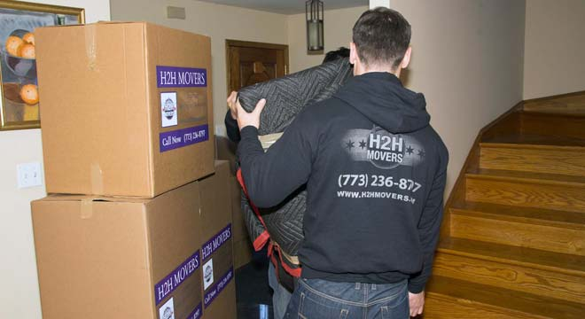 Boxes from an office move done for a Chicago business by H2H Moving Company!